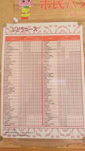 k勝沼循環バスぶどうコース平日の時刻表