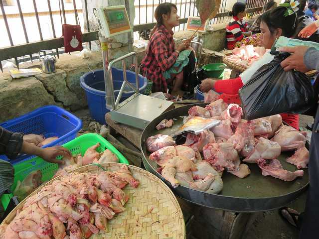 ミャンマーの市場で売っている鶏肉にハエがたかっている様子