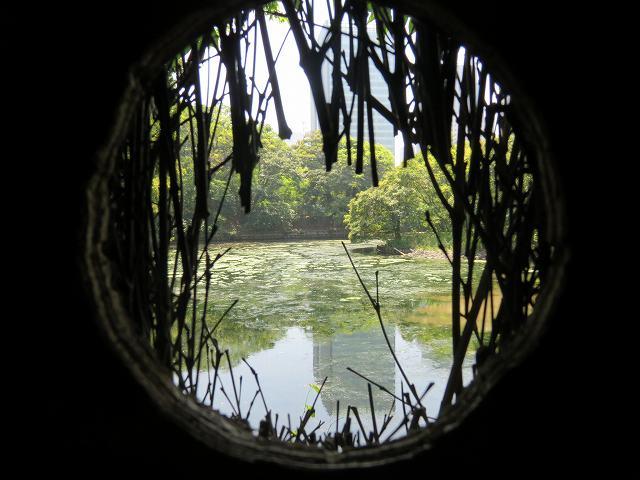 浜離宮恩賜庭園内にある「鴨場」から見た池