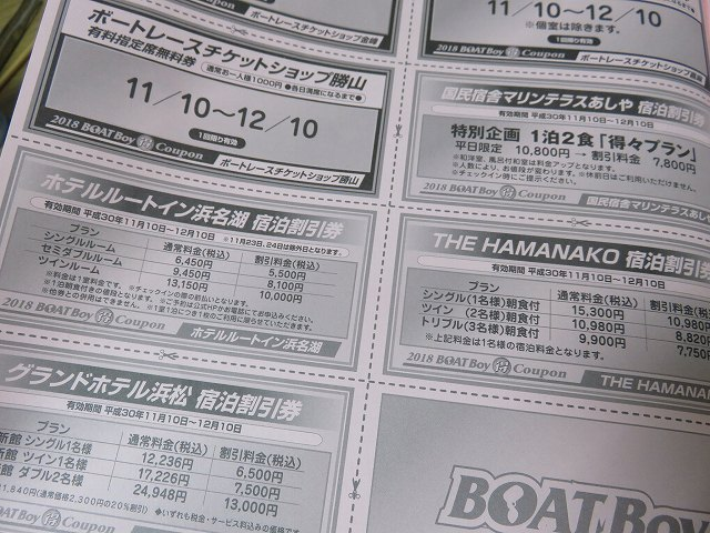 競艇雑誌「BOAT BOy」の付録、「ホテルの宿泊割引券」