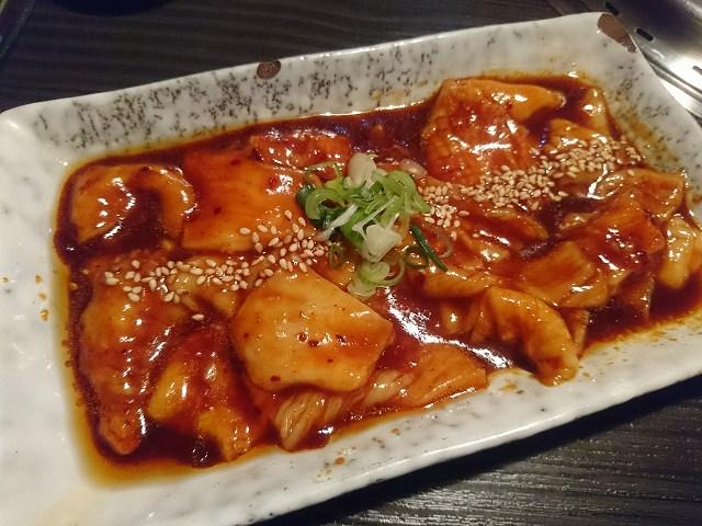 津市の焼肉屋「天福」の辛ミノ