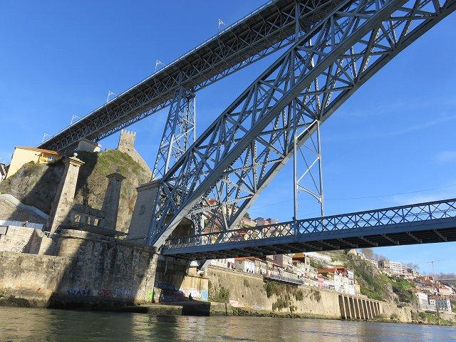 ポルトのドウロ川クルーズ船から眺めたドン・ルイス1世橋