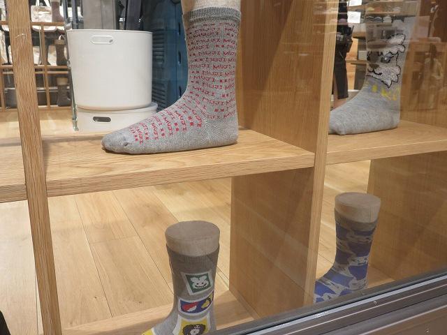 錦糸町パルコの無印良品の中にある靴下工房の靴下編み機で編まれた靴下