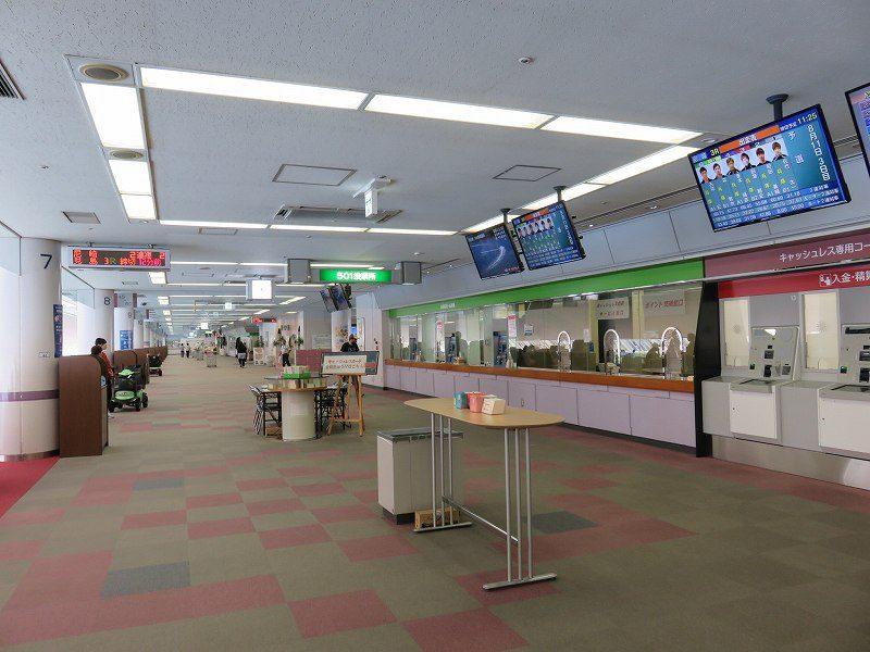 尼崎競艇場の5階有料席のフロア内のようす