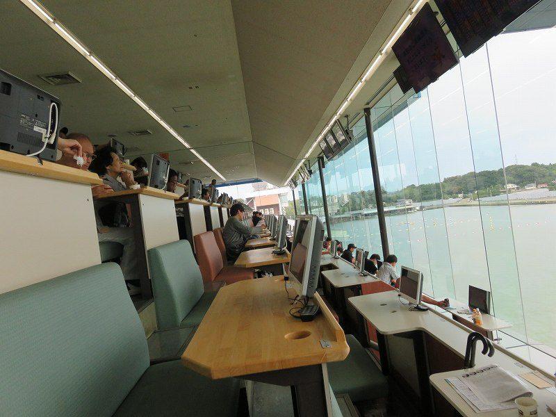 三国競艇場3階指定席のようすと、水面