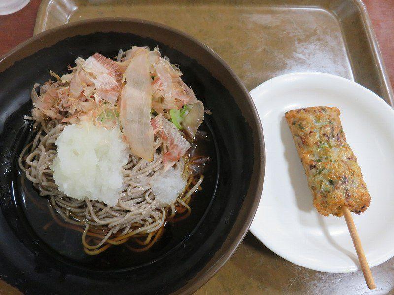 三国競艇場3階指定席エリアのレストラン「水仙」のおろしそばとタコねぎ天