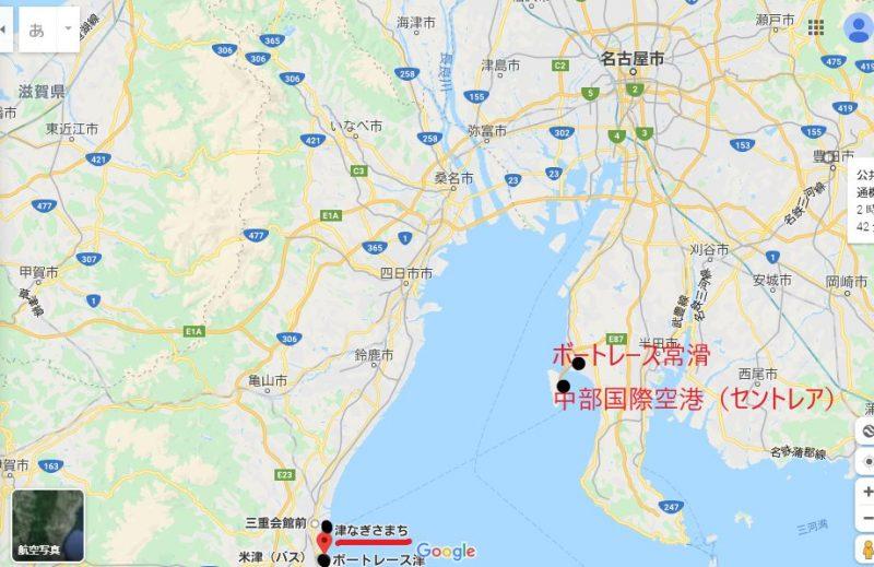 常滑競艇場、中部国際空港、津なぎさまち、津競艇場の位置関係