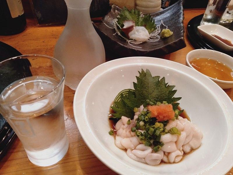 「鮨dining松雪」の白子と日本酒