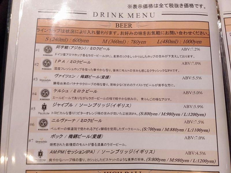 丸亀市のクラフトビール醸造所「MARUGAME MIROC BREWERY」のビールメニュー