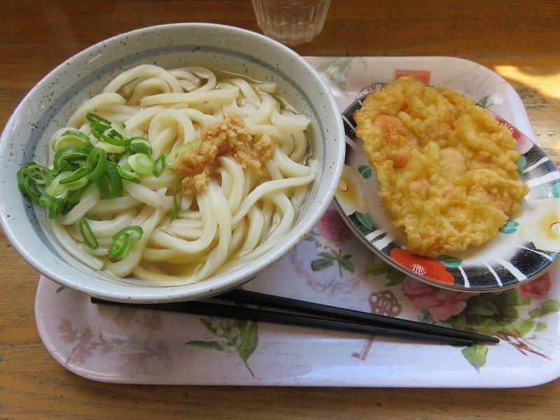 丸亀市の「ことひらうどん工場併設店」のかけうどんと小えびの天ぷら