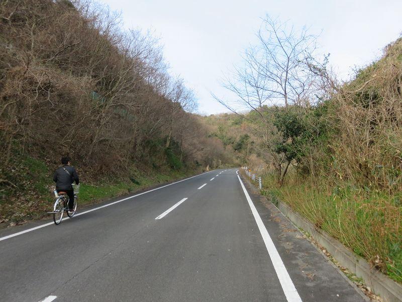 本島の山の中を自転車で走るようす