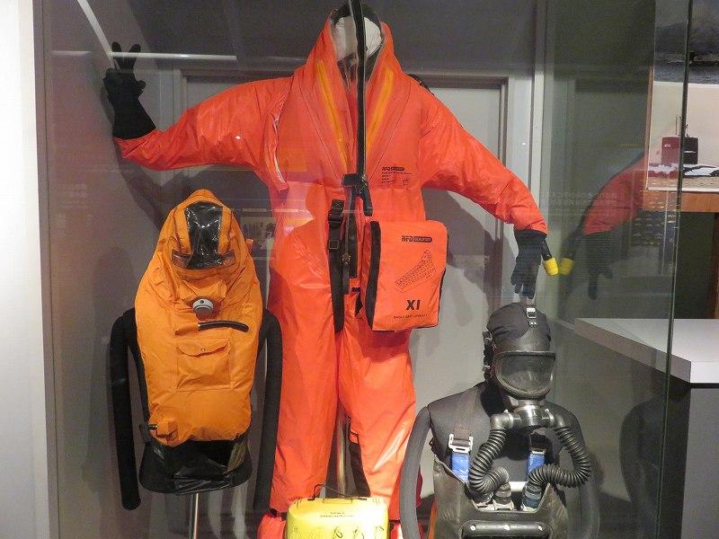 海上自衛隊呉資料館3階に展示されている潜水服