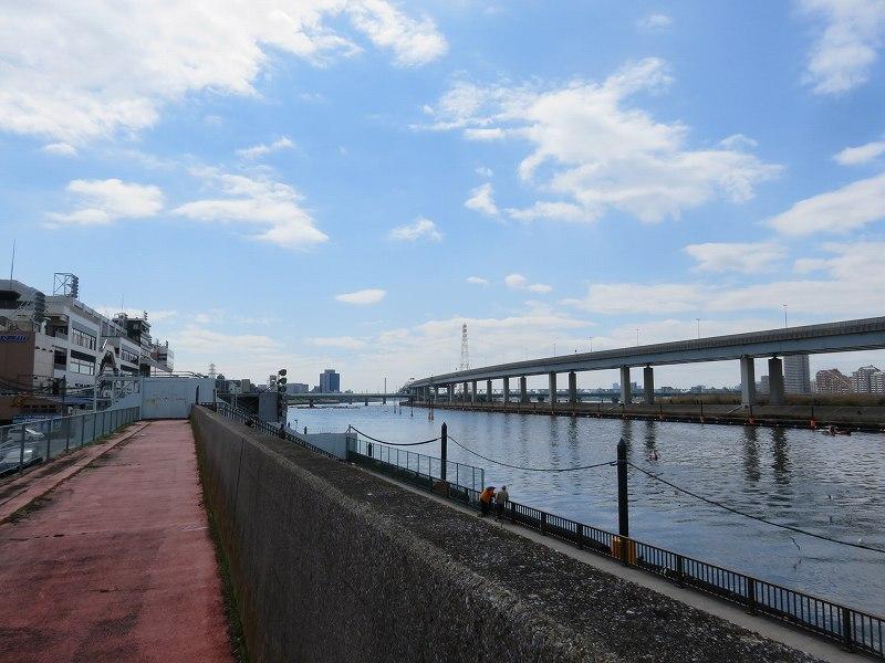 堤防の上から見た江戸川競艇場の競争水面1マーク側