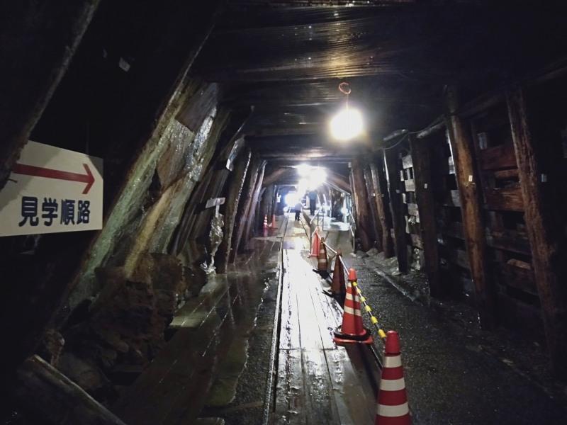 足尾銅山の通洞内の見学順路