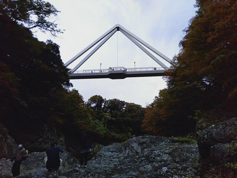 高津戸峡の遊歩道を下りた川辺から見えるはねたき橋