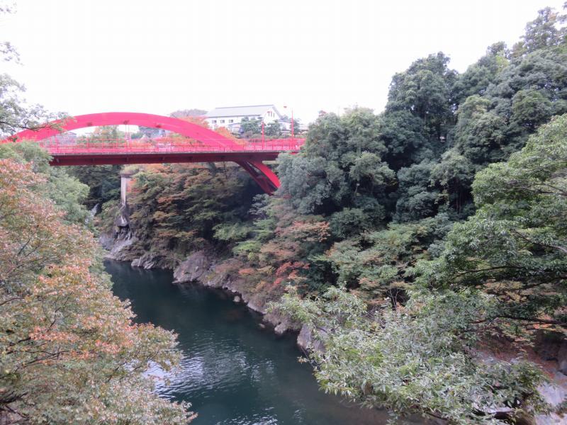 高津戸峡の遊歩道からみえる高津戸橋