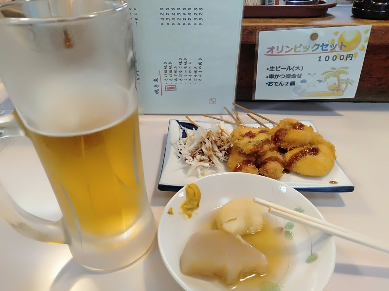 「大衆酒場寿海千丸店」のビールと串カツとおでん