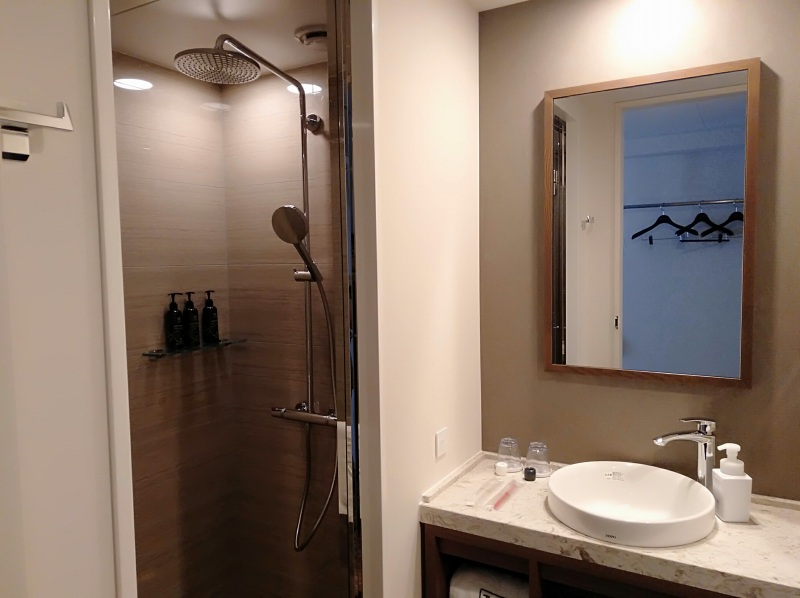 ザロイヤルパークキャンバス京都二条のスタンダードツインのシャワーブース
