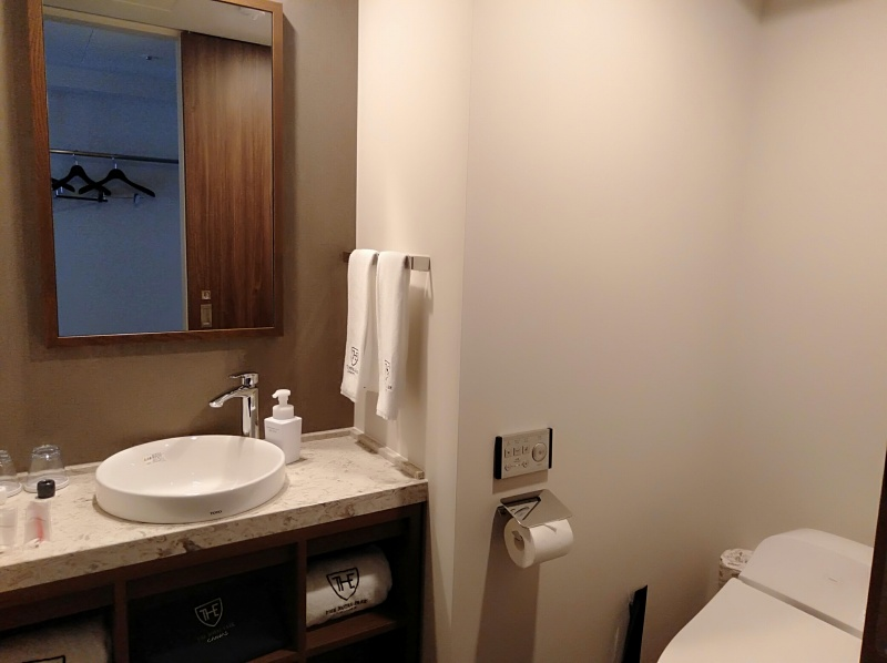 ザロイヤルパークキャンバス京都二条のスタンダードツインの洗面所